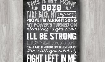black and white chalkboard sign that says this is my fight song take back my life song prove im alright song my power's turned on starting tight now i'll be strong i'll play my fight song and i don't really care if nobody else believes cause i've still got a lot of fight left in me