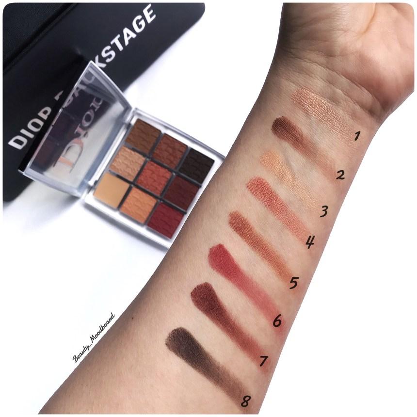 8 teintes Eye Palette Amber Neutrals 003 swatchées