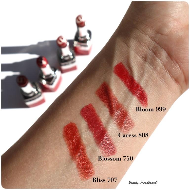 Swatch de 4 teintes de rouges à lèvres Dior Bloom 999 Caress 808 Blossom 750 Bliss 707