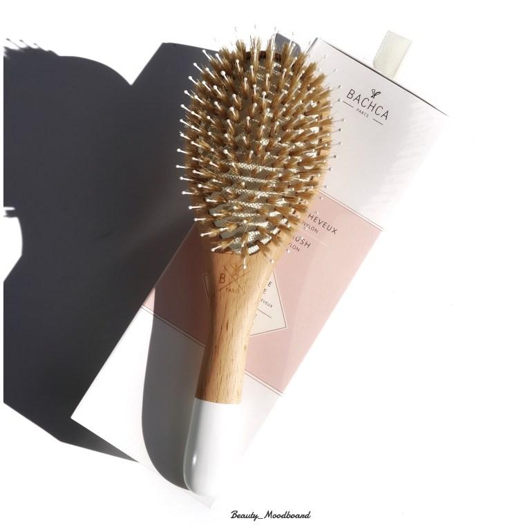 Brosse à cheveux en bois naturel, picots en nylon et soies de sanglier Bachca