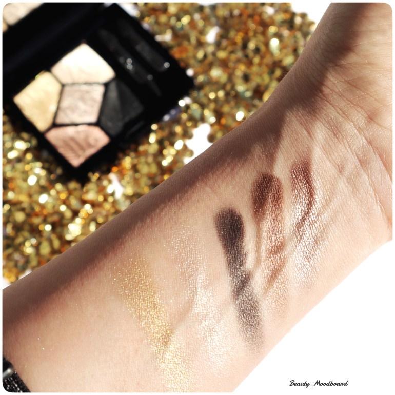 Swatches des fards regard haute couture Celebrate In Gold 017 Dior Make Up édition limitée Noël 2019