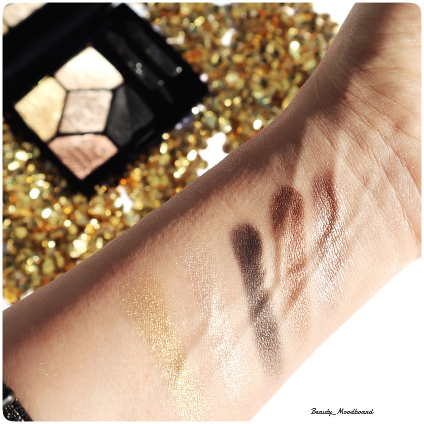 Swatches des fards regard haute couture Celebrate In Gold 017 Dior Make Up édition limitée Noël 2019