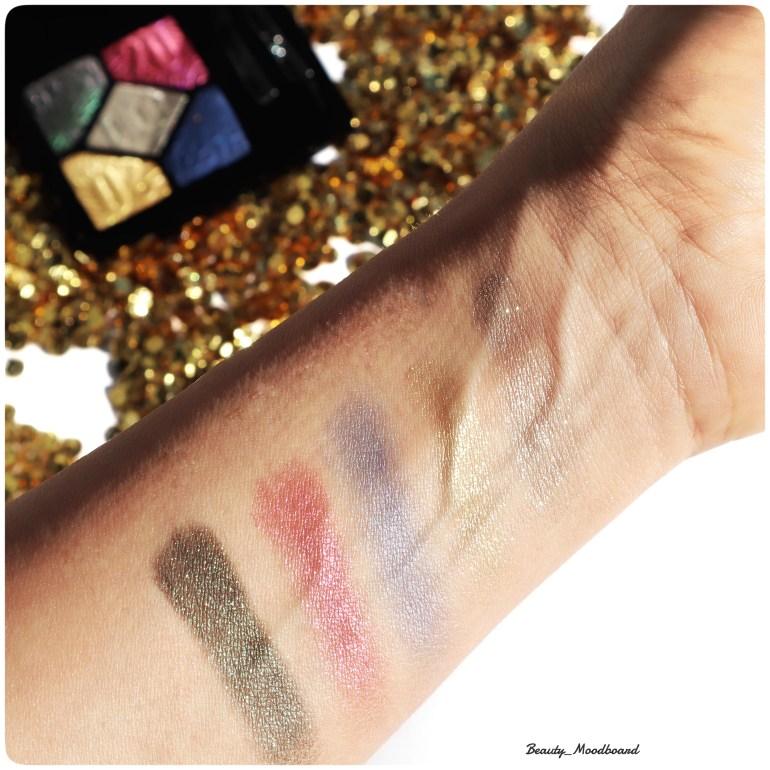 Swatch des 5 teintes de fards Dior Party In Colours 007