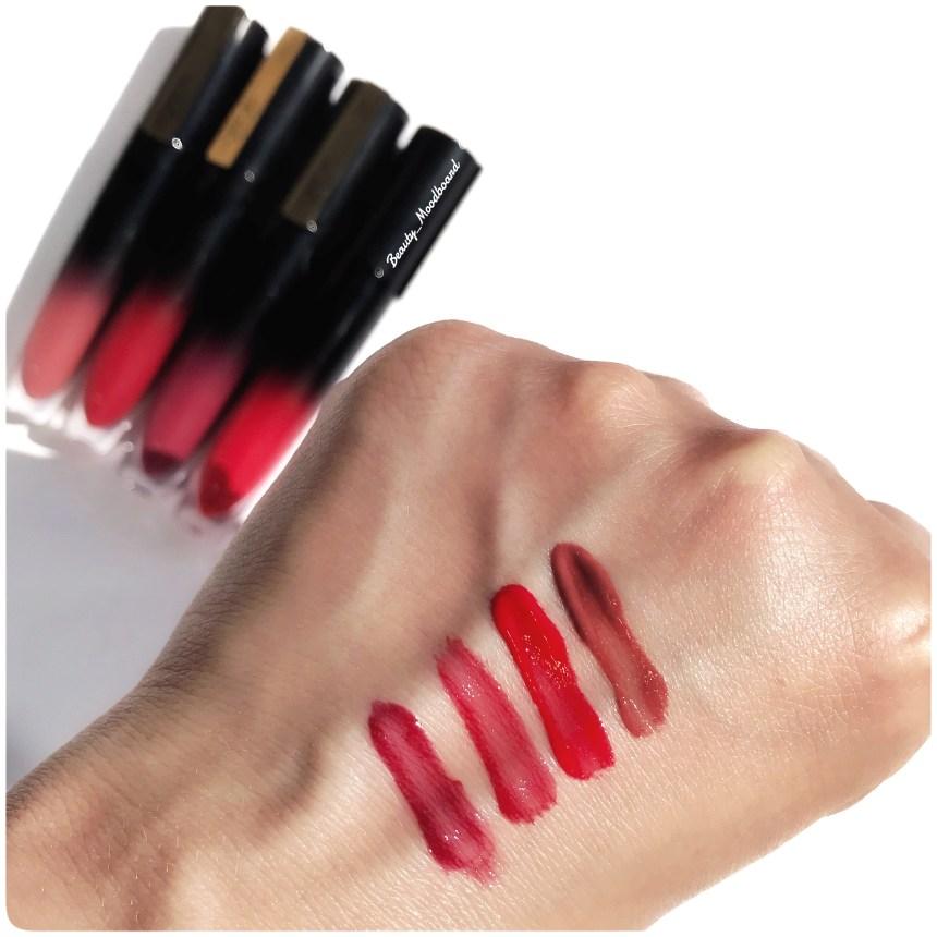 Swatch de 4 couleurs Brilliant Signature encre à lèvres l'oréal paris