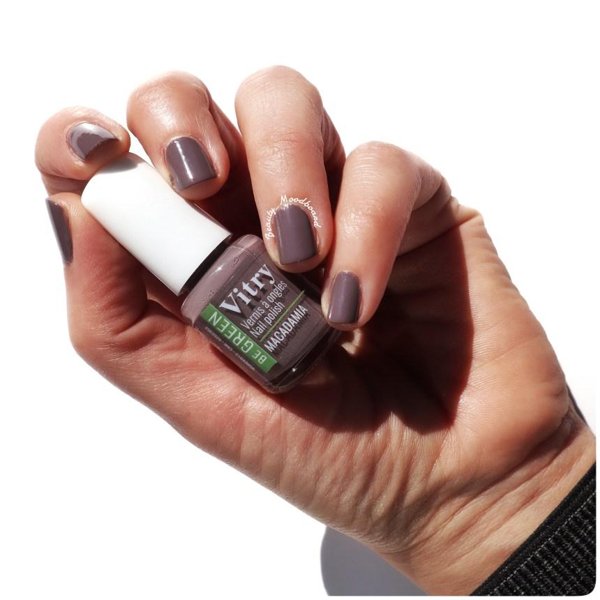 Swatch Ongles couleur Macadamia formulation green 80% d'ingrédients bio sources