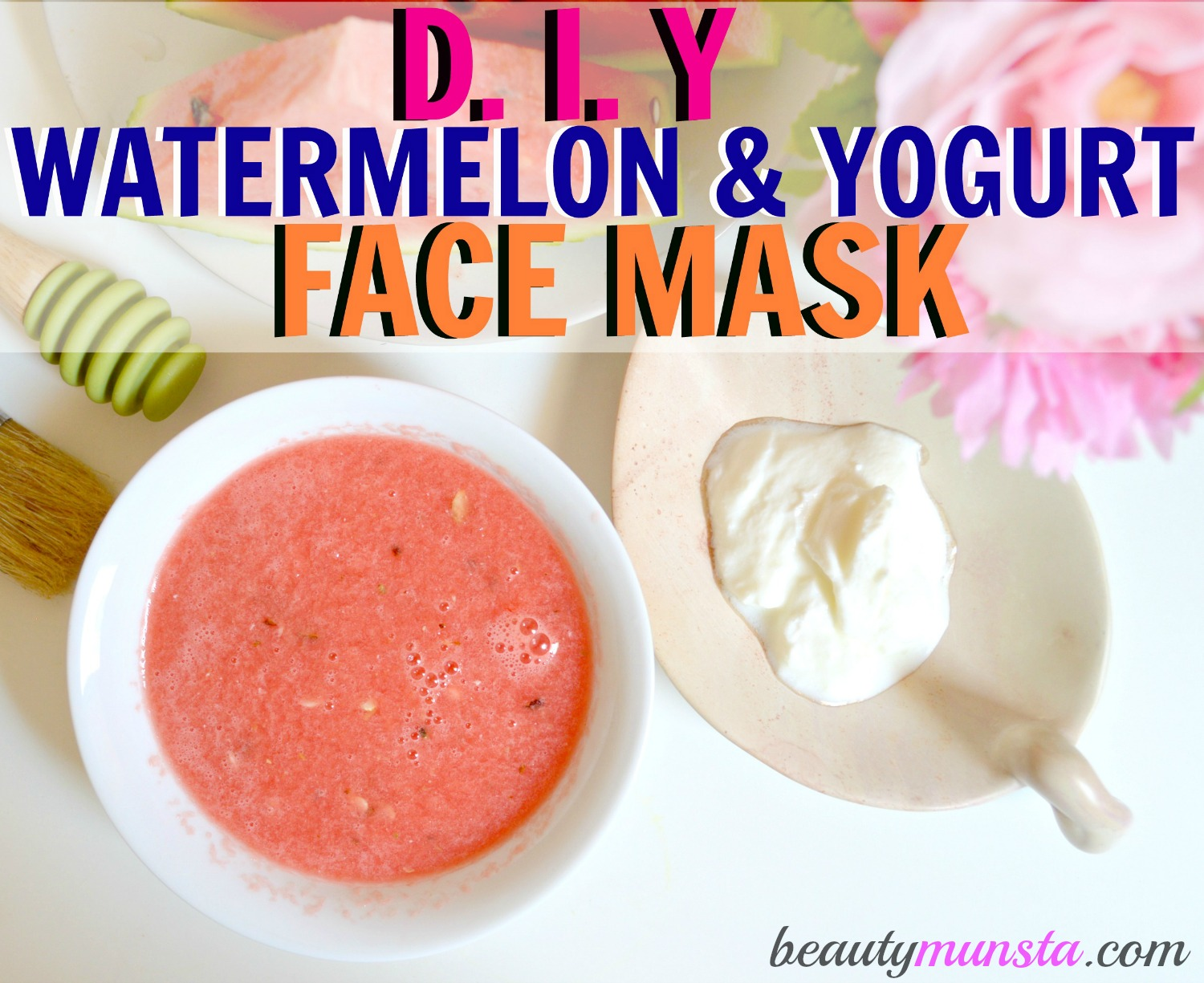 Combine watermelon & yogurt to get a cooling face mask for acne-free skin!
