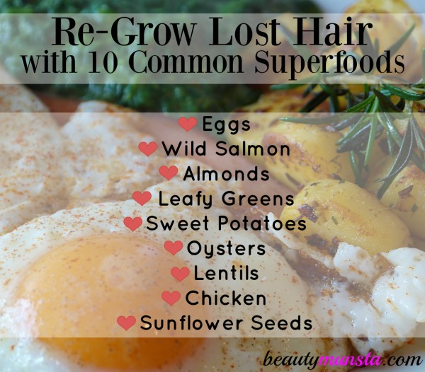 Experiencing hair loss, shedding and thinning hair? Eat these superfoods to regrow lost hair. Most of these foods are probably sitting in your fridge!