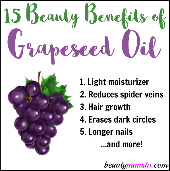 Beautymunsta.com brings to you 15 gorgeous beauty benefits of grapeseed oil! Use this amazing oil for vibrant beauty!