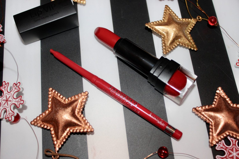 festive red lipstick
