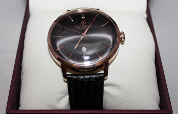 Black Leather Accurist Watch