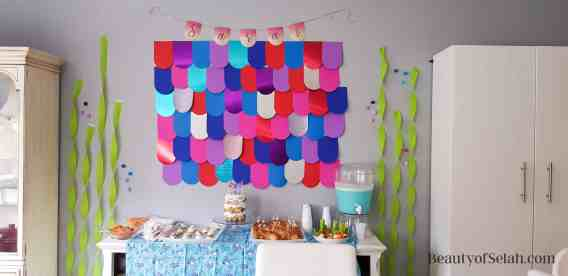 Rainbow Fish Party Scale wall full backdrop