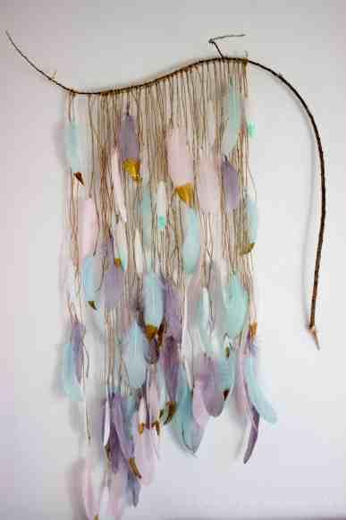 Elegant-Ombre-Herringbone-Nursery custom wall feather art