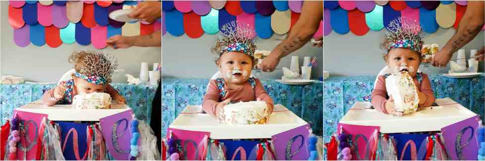 Rainbow Fish Party smash cake and highchair banner