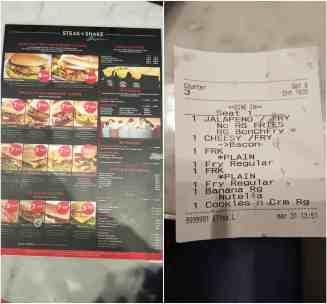 verona steak and shake 2 menu and receipt