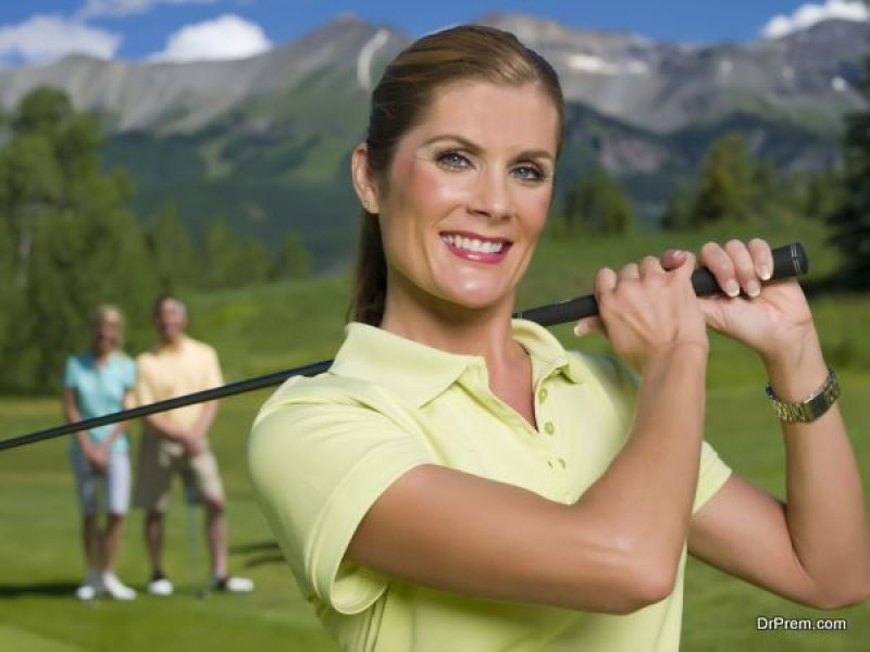 woman on golf vacation