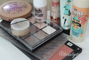 Benefit Porefessional, Bourjois Healthy Mix Serum, TheBalm Time Balm Concealer, Benefit Agent Zero Shine, Inglot Powder Blush No. 34, Urban Decay Baked Bronzer, Benefit High Beam, Viseart Eyeshadow Palette