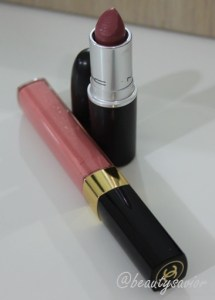 MAC Lipstick in Cosmo, Chanel Glossimer in Bikini Peach 257