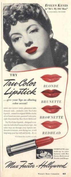 Pubblicità di Max Factor del 1942