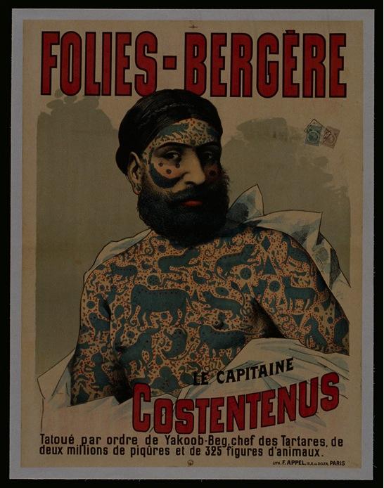 Capitaine Costentenus, un'artista del circo tatuato contro la sua volontà su ordine di Yacoob-Beg in Cina, nel 19 ° secolo © Fonds Dutailly, Ville de Chaumont