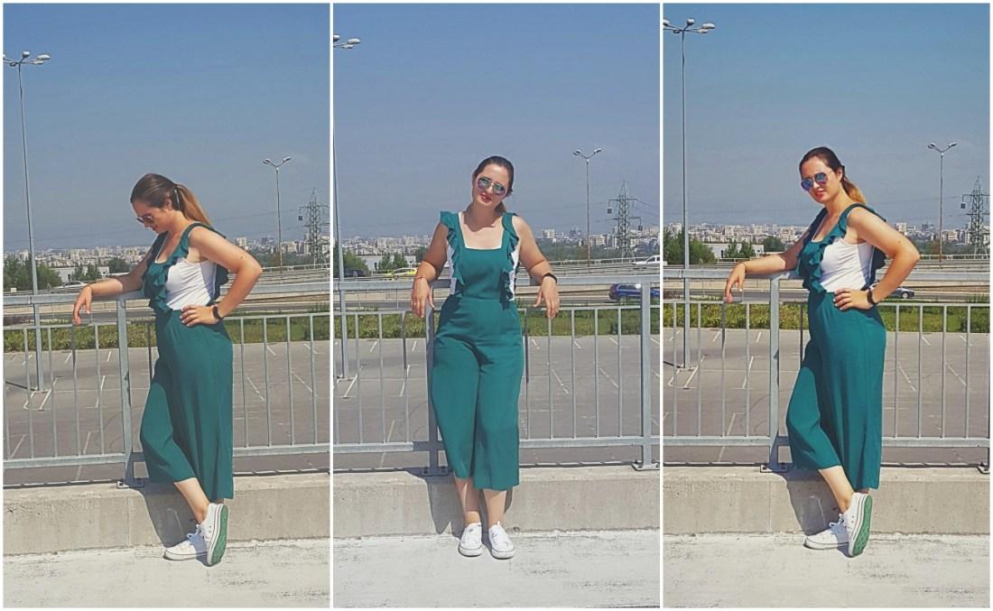 Колаж от три снимки на Велина Василева в зелен гащеризон Mango.