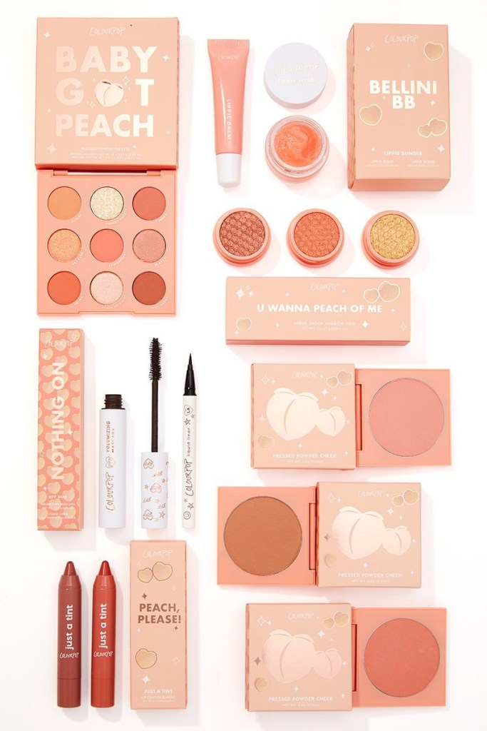 The Colourpop Peach Collection Eyeshadows Lip Tint BFF Mascara