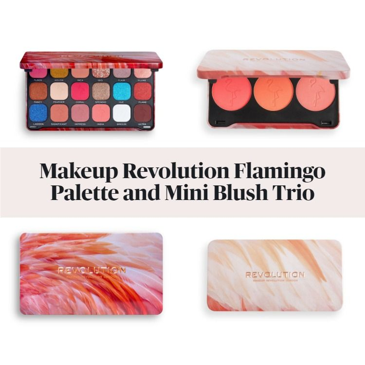 New! Makeup Revolution Forever Flawless Flamboyance Flamingo Palette And Mini Trio Blush