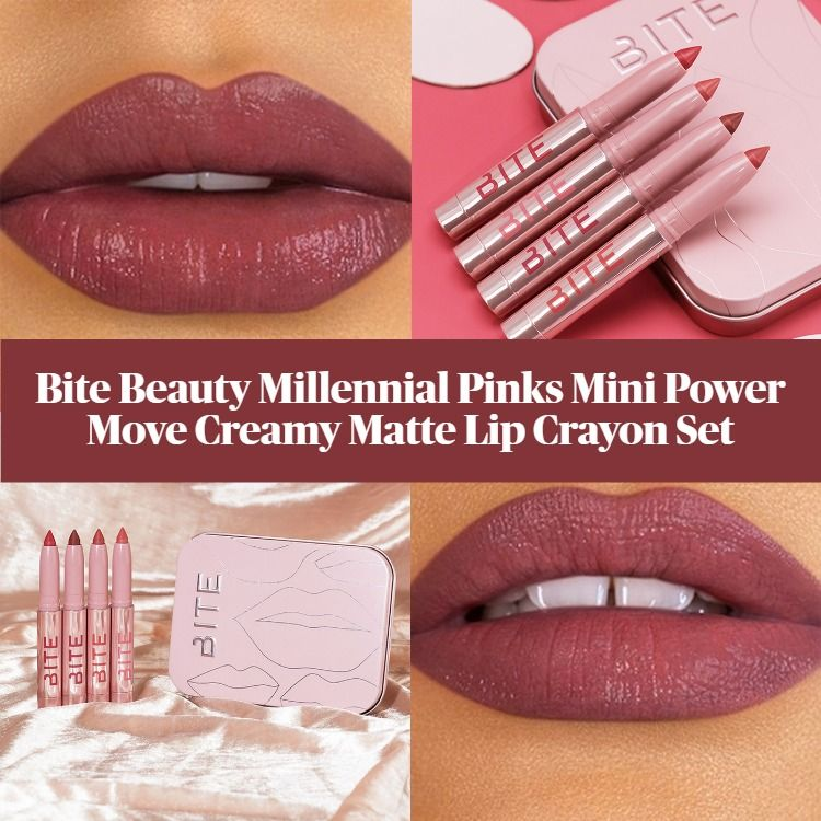 New! Bite Beauty Millennial Pinks Mini Power Move Creamy Matte Lip Crayon Set