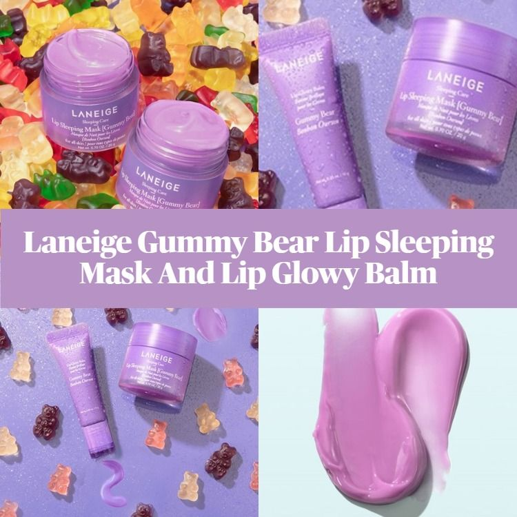 New! Laneige Limited Edition Gummy Bear Lip Sleeping Mask And Lip Glowy Balm