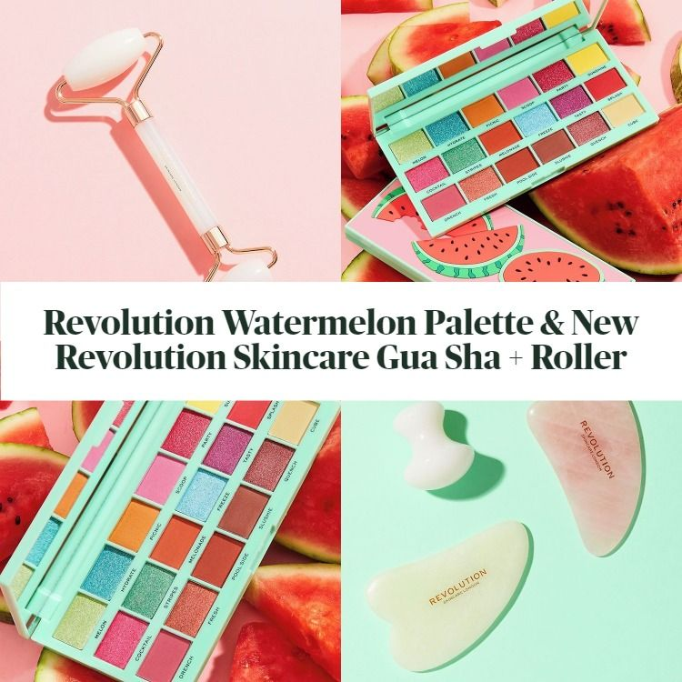 I Heart Revolution Tasty Eyeshadow Palette Watermelon & New Revolution Skincare Gua Sha + Roller
