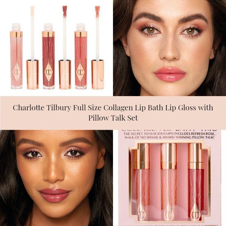 Charlotte Tilbury Full Size Collagen Lip Bath Lip Gloss with Pillow Talk Set