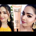 AFFORDABLE INDIAN WEDDING GUEST MAKEUP WITH LAKME CC CREAM//MAKEUP TUTORIAL ON ACNE MARKS/NEHASMARTY