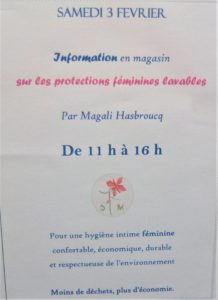 Présentation des Serviettes Hygiéniques Lavables @ Cafétéria du magasin bio La Vie Claire