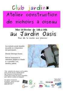 Club jardin : Construction de nichoirs @ Jardin Oasis