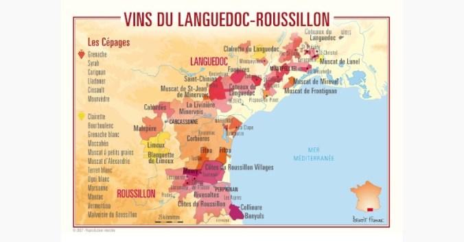 Beaux-Vins blog oenologie carte france régions viticoles Languedoc Roussillon