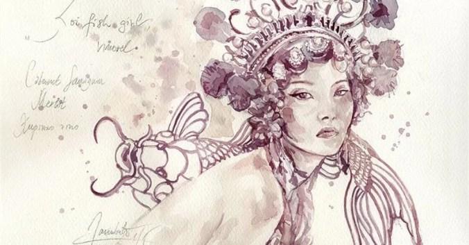 Blog Beaux-Vins dégustation oenologie vin peindre peinture Sanja Jankovic artiste Koifish girl