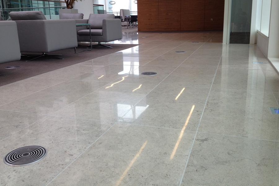 Polished Blue Limestone Floor