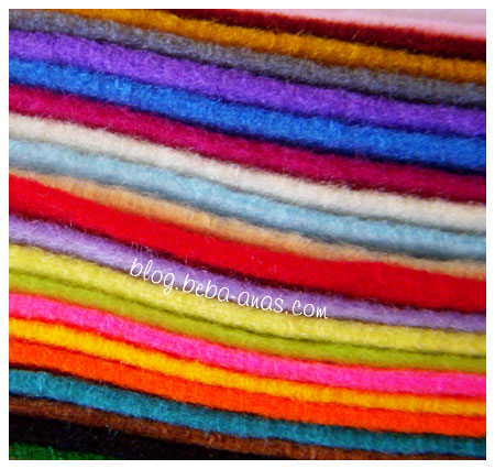 22 pieces of wool felt each with different color..