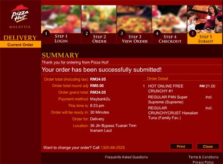 Order Pizza @ Pizza Hut online....