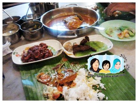 banana leaf rice with fish head curry at krishna curry house kota kinabalu