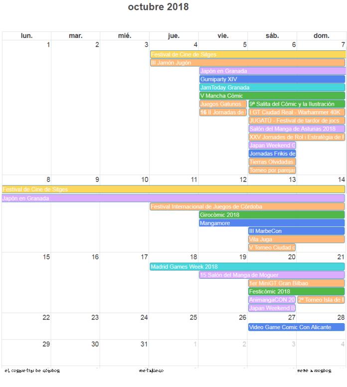 Calendario de eventos frikis de octubre 2018