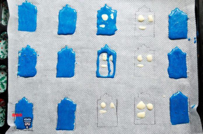 plantilla diseño tardis para papel de horno y recetas frikis