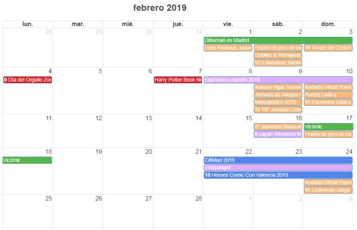 calendario friki de febrero 2019