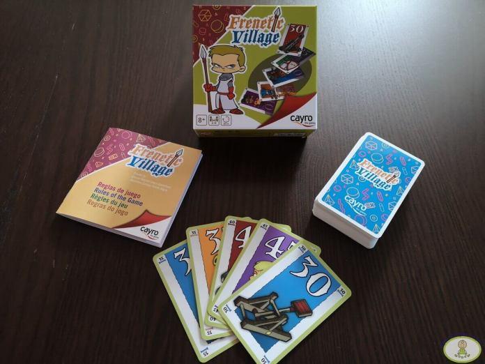 componentes cartas juego de mesa Frenetic Village de Cayro