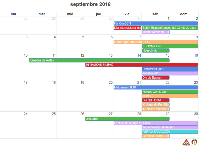 CALENDARIO FRIKI de septiembre 2018
