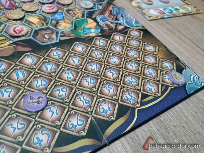 Tablero de puntuación del juego de mesa Aladino