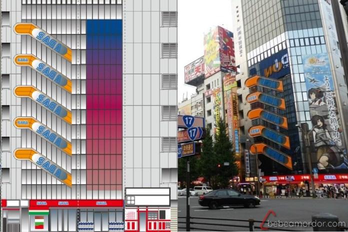 edificio SEGA real vs edificio SAGA manualidades de papel de Akihabara
