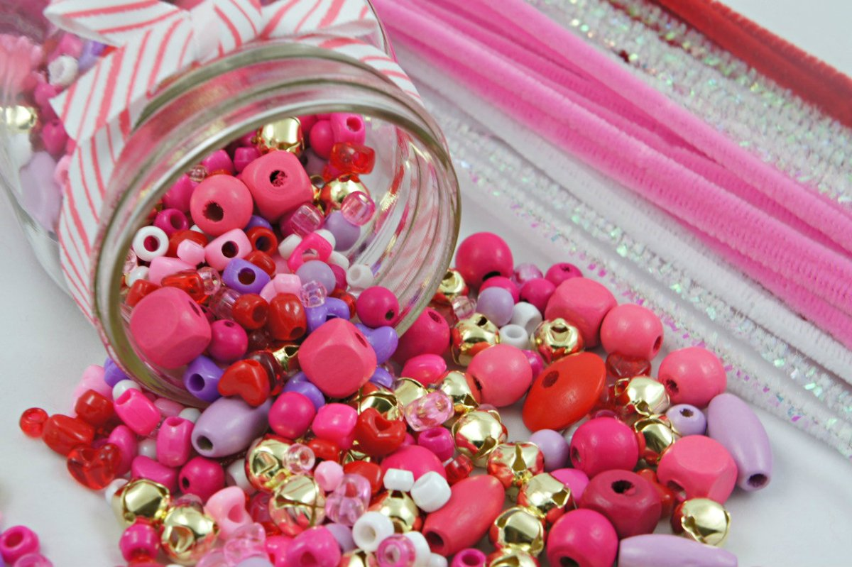 Getting ready for Valentine's: Beads and Pipe Cleaners