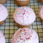 Dye-Free Pink Strawberry Buttercream Frosted Cupcakes
