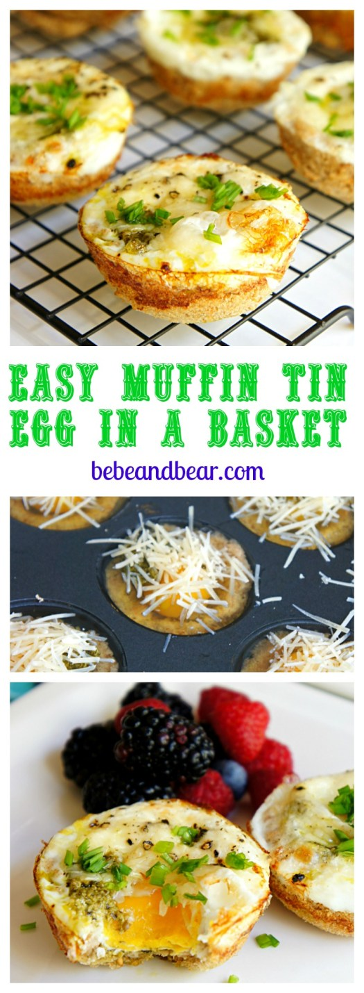 Easy Muffin Tin Egg In a Basket with Pesto and Parmesan