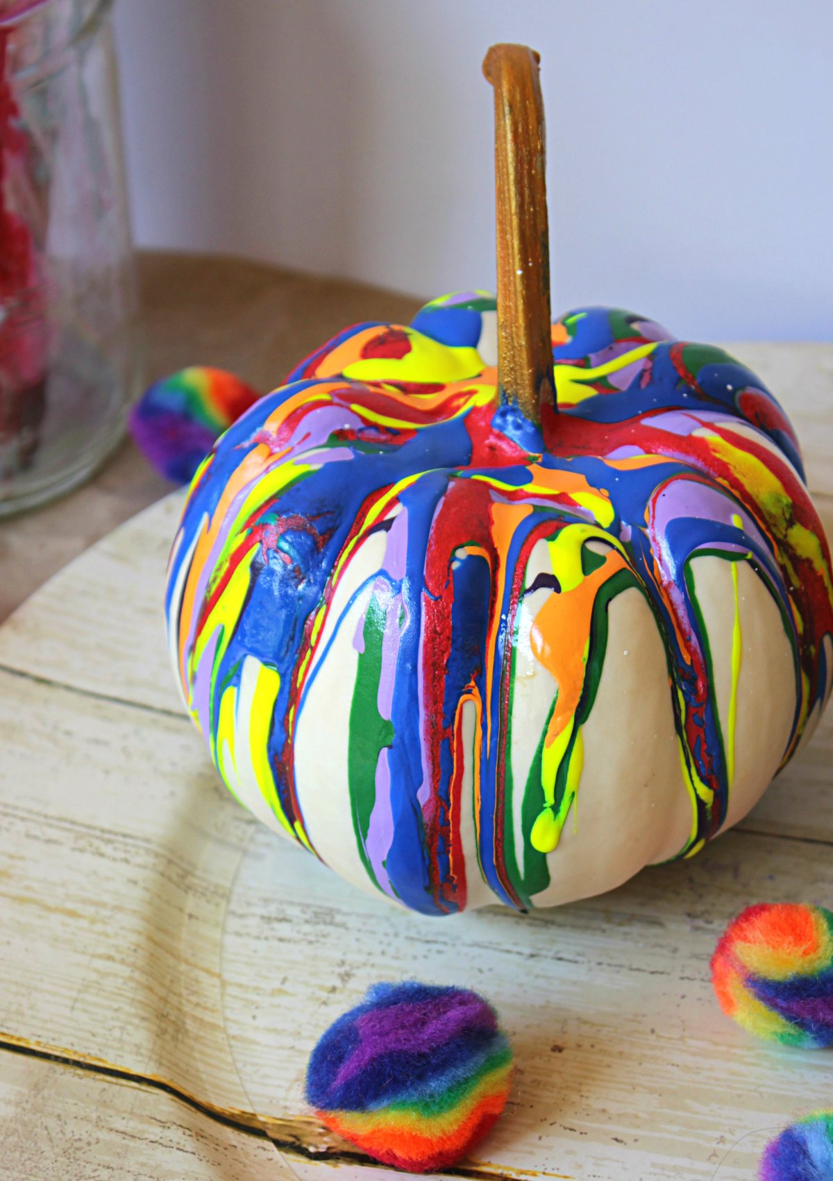 Easy No Carve Drip Paint Pumpkins